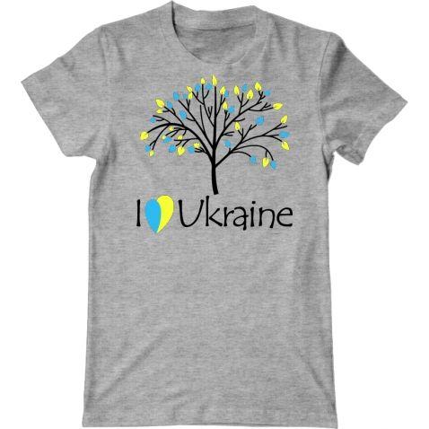футболка с надписью i love ukraine я люблю украину и изображением дерева с листьями цвета флага украины заказать футболки, майки, толстовки с украинскими принтами, национальная символика, патриотические принты