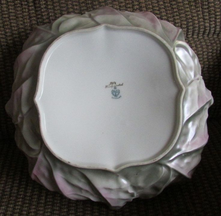 Beautiful Old RS Germany Bowl Cabbage Form w Delicate Flowers Leaves Blue Mark   eBay