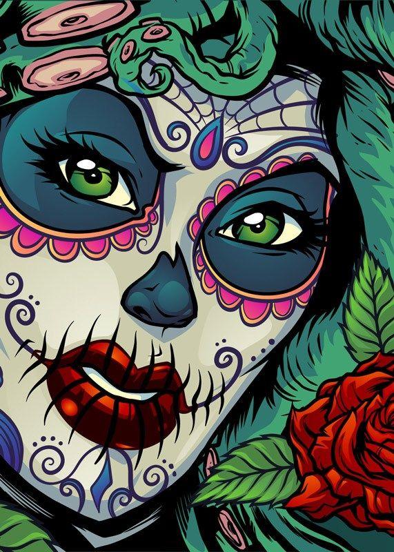 Illustration (Dark)   Clothing   Sugar skull girl, Boat wraps