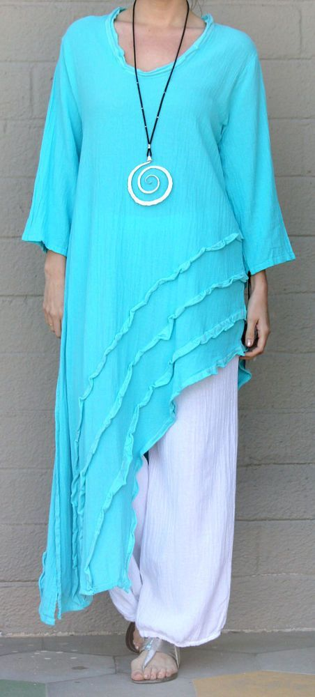 OH MY GAUZE Cotton Angle Hem RAIN Long Tunic Top 1 (S/M/L) 2 (L/XL/1X) ICE #OHMYGAUZE #Tunic #Versatile:
