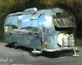 Art Print Painting Retro Airstream Desert Auto Camping Outdoors - 5x7 on 8x10 - Airstream at Palo Duro by David Lloyd. $14.00, via Etsy.