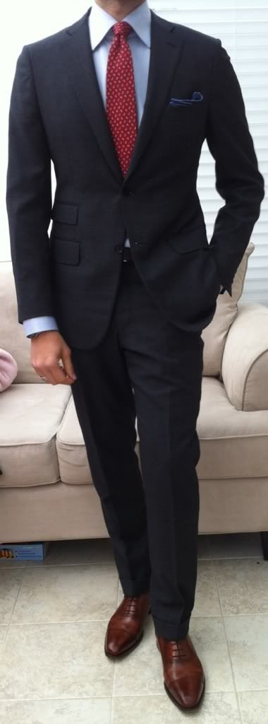 Charcoal suit red tie