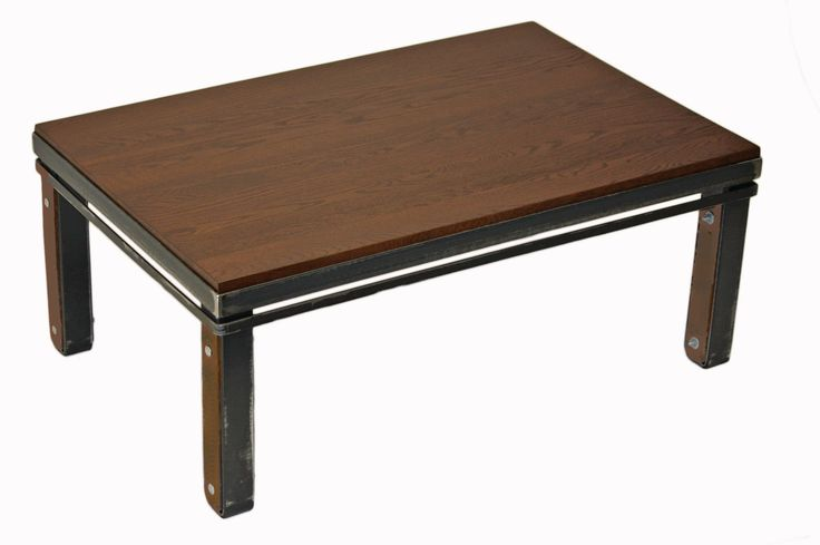"Table basse en Chêne ""Brun Suède"" #table #living #room #acier #steel #meuble #furniture #industriel #industrial #design #wood #bois"