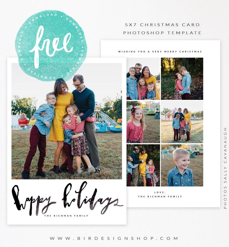 FREE Christmas card template  - photoshop file ready to download - happy holidays hand lettering