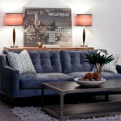 Tufted Slate Blue Sofa Velvet Fabric Looks So Comfy