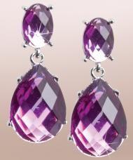 Csepp alakú, lila fazettált kristály fülbevaló