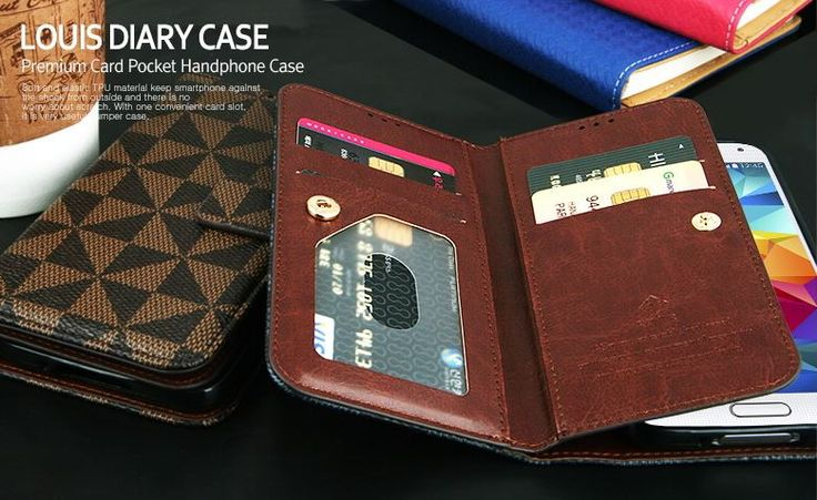 LOUIS DIARY PREMIUM CARD POCKET CHECK PATTERN WALLET PHONE CASE FOR GALAXY NOTE 4