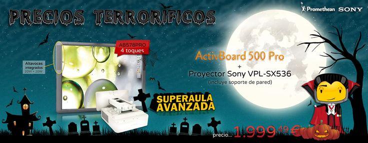 """Precios Terroríficos. Pizarra #Promethean ActivBoard 500 Pro 78"""" de 4 toques con proyector VPL-SX536 de #Sony con soporte de pared. #proyector #pizarradigital #aulatic"""