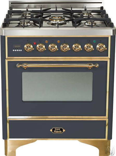 """Ilve UM76DVGGM 30"""" Traditional-Style Gas Range with 5 Open Burners, Dual Triple Flame Burner, European Convection Oven, Manual Clean, Rotisserie, Warming Drawer and Brass Trim: Matte Graphite"""