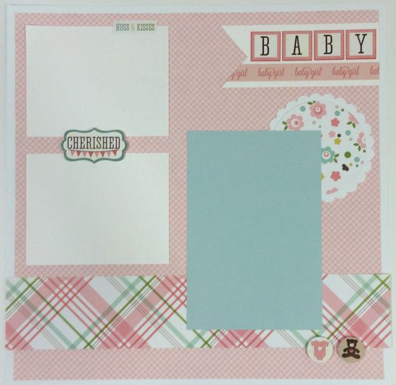 175 best baby scrapbook ideas images on pinterest scrapbooking baby girl scrapbook page kit or premade pre cut with instructions six pages solutioingenieria Image collections