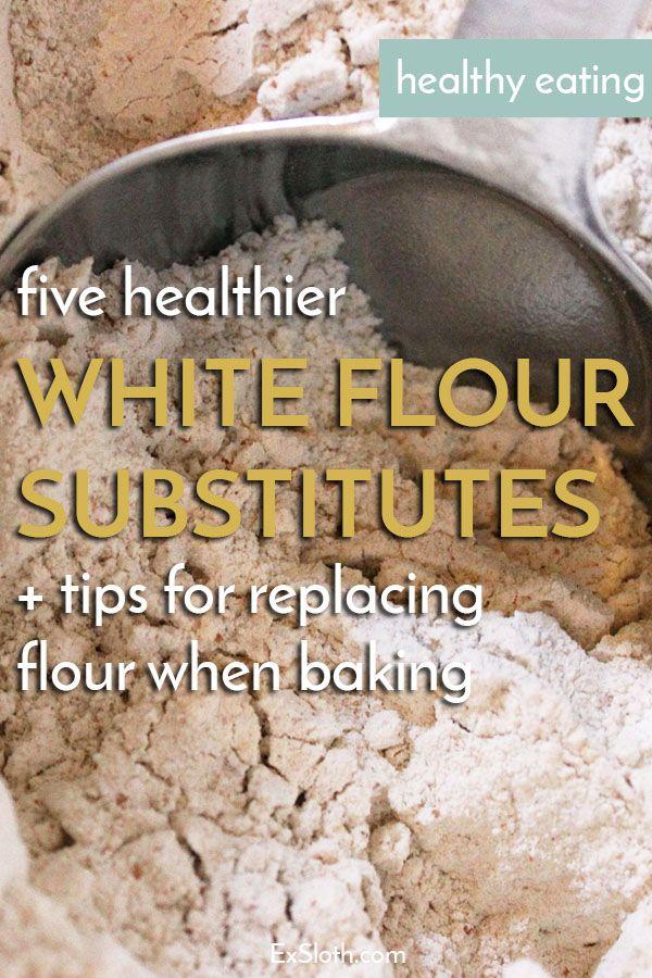 5 healthier white flour alternatives + tips for replacing flour when baking via @ExSloth | ExSloth.com