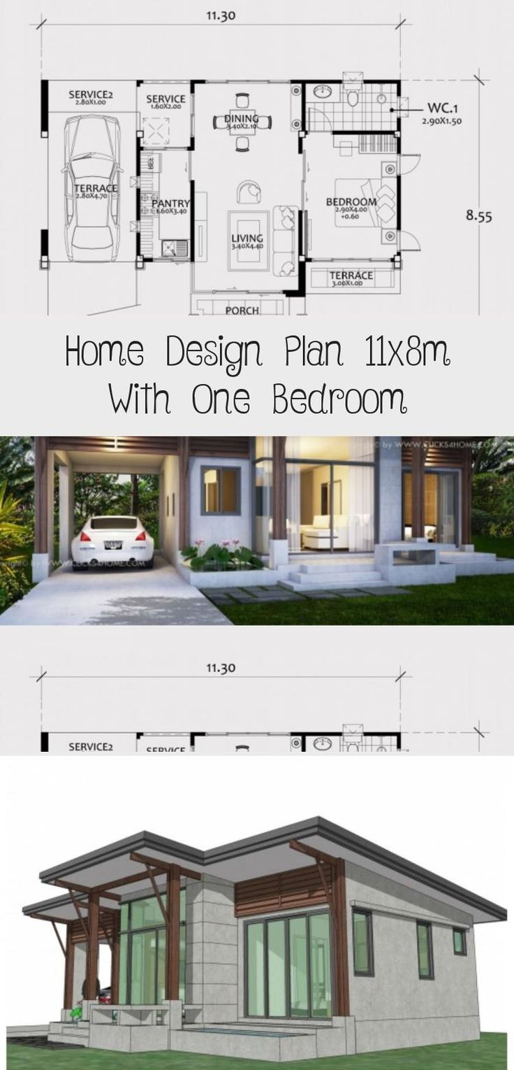 Home Design Plan 11x8m With One Bedroom Home Design With Plansearch Smallhouseplanswithcourt In 2020 Home Design Plan Unique Small House Plans Courtyard House Plans