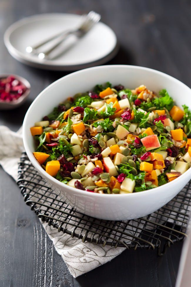 Healthy Easy Fall Salad Recipe   Butternut squash, apples, apple cider vinegar dressing, dried cranberries, Thanksgiving, Holidays, Seeds, Gluten Free, Vegan