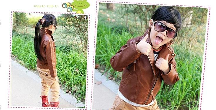 Korean Style Rivet Vigor Zippered Kid's Coat i2431562