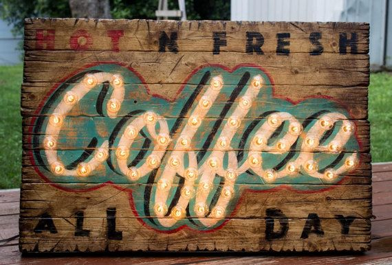 This worn one of a kind vintage coffee light sign has just the look for a coffee lover and you wont find anything like it anywhere else. -5watt bulbs