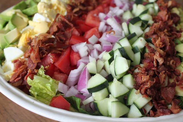 A Bountiful Kitchen: Cobb Salad with Creamy French Dressing: Cooking Salad, Creamy French, My Cobb Salad, Boiled Eggs, French Dressing, French Dresses, Cob Salad, Bounty Kitchens, Cod Salad