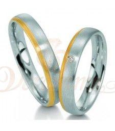 Βέρες γάμου από πλατίνα και χρυσό με διαμάντι Breuning 9017-9018