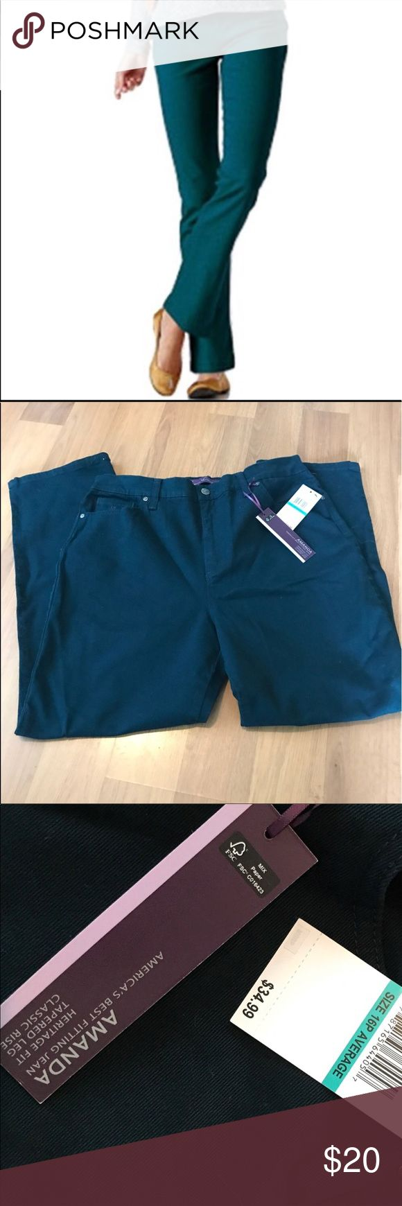 Gloria Vanderbilt Amanda jeans NWT. Size 16P. Amalfi coast (dark green). Heritage fit, tapered leg, classic rise. Gloria Vanderbilt Jeans
