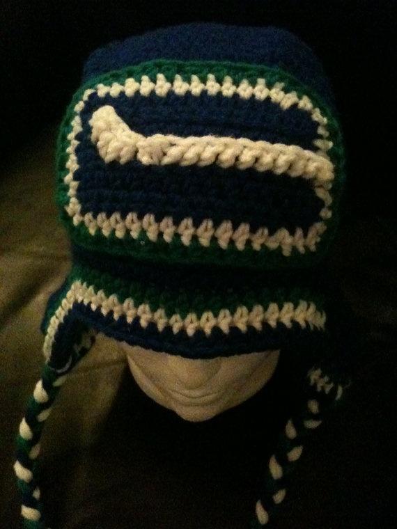 Crocheted Vancouver Canucks beanie