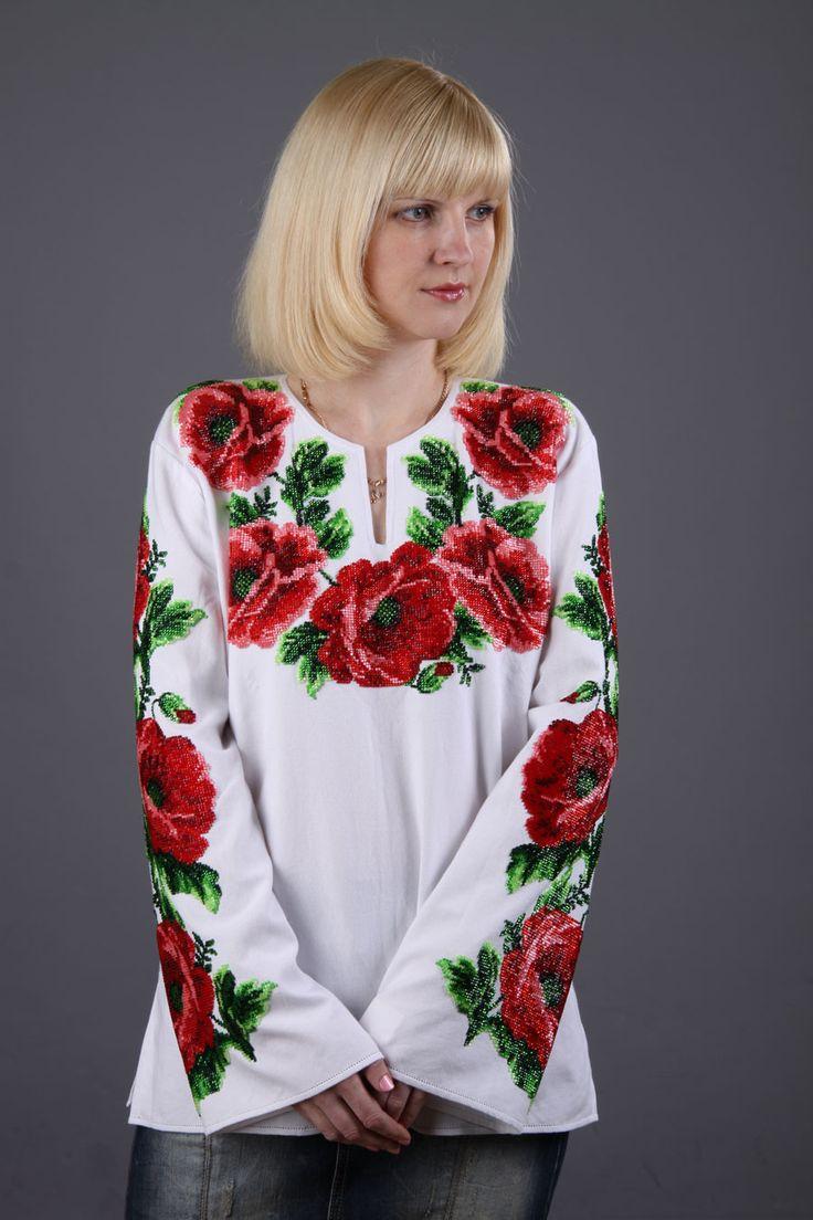Вышиканка женская рубашка расшитая красными маками из бисера | Моя вышиванка