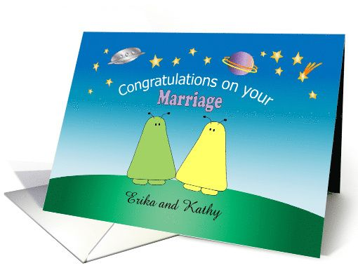 Custom Name Congratulations on Marriage, aliens, gay, lesbian card