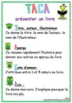 affiche: comment présenter un livre. How to present a book review in French.