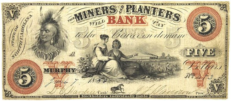 North Carolina Obsolete Currency Miners and Planters Bank Five Dollar Note