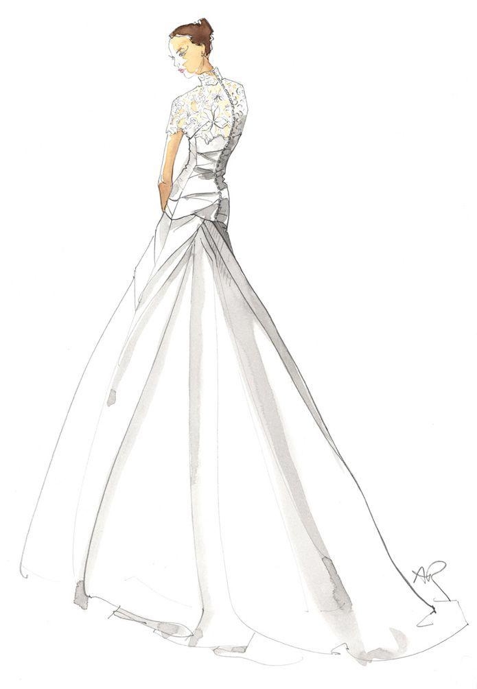Bridal wedding sketch 2 angie rehe fashion for Pencil dress for wedding