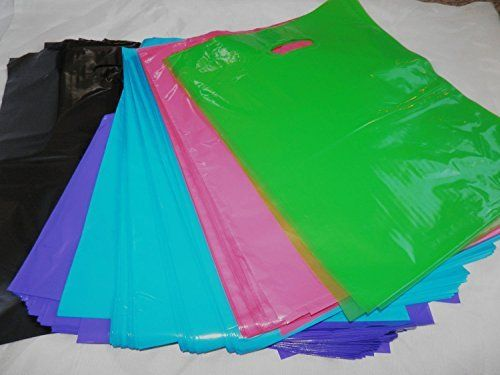 100 -12x15 Assorted Glossy Black/Pink/Purple/Blue/Lime Green Plastic Bags W/handles, http://a.co/ge0Z3Gu