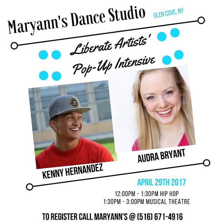 We are so excited for our Pop Up Intensive with Liberate Artists Traveling Faculty Members @audrabryant and @kennaayboy this Saturday April 29th #maryannsdancestudio.Hil Hop and Musical Theatre. We cannot wait! #liberateyourart #liberateartists #newyork #hiphop #musicaltheatre #dance #whenindoubtdanxeitout #glencove #longisland #dance