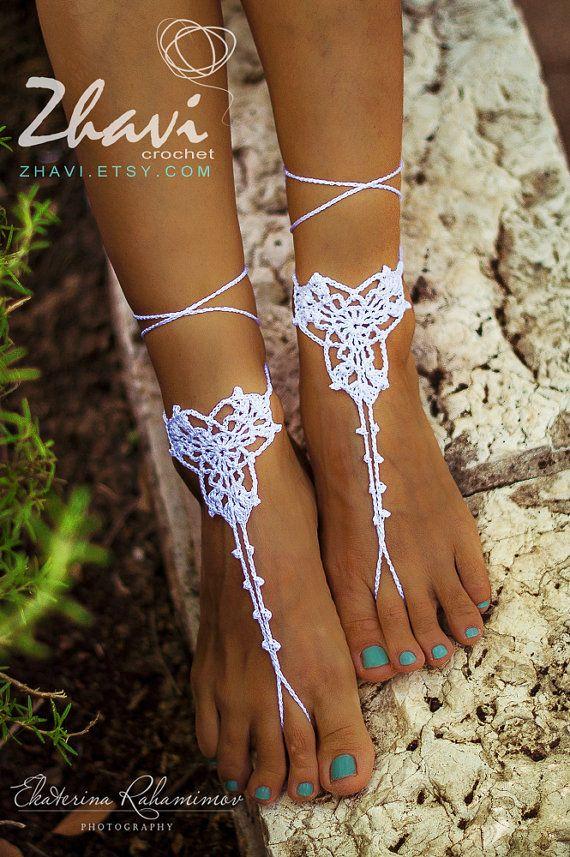 Mariage blanc au Crochet nu-pieds sandales bijoux de pied par ZHAVI