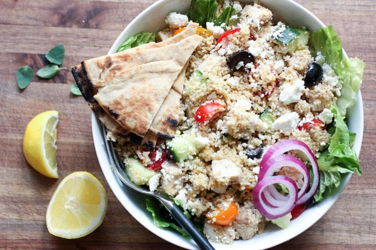 Looking for a lunch idea straight out of the Mediterranean? Toss together this simple bowl of refreshing vegetables, fluffy couscous and savory chicken.