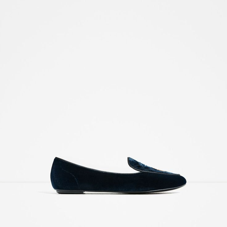 ZARA - COLLECTION SS/17 - FLAT VELVET SHOES WITH EMBROIDERY DETAIL