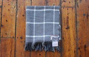 Foxford white on grey large check throw www.waringsathome.co.uk