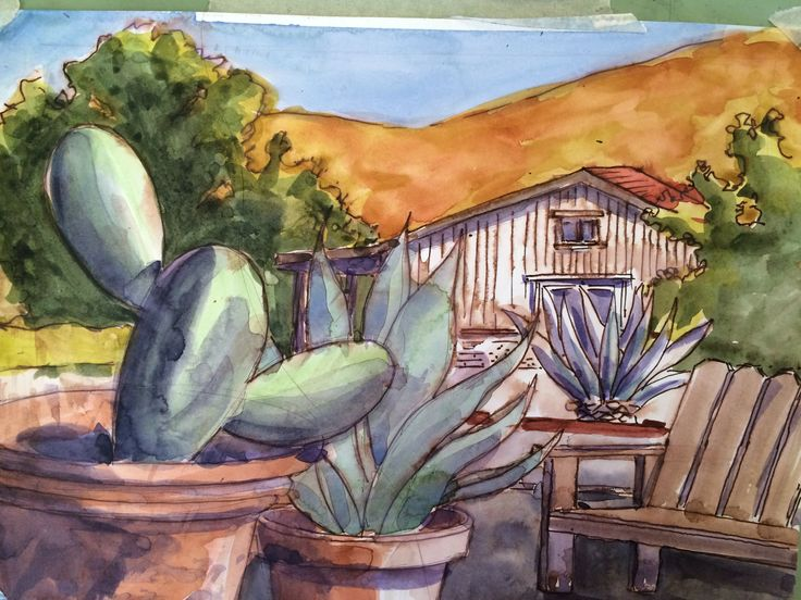 View of the barn from the patio, done on site at Helen Shafer Garcia's watercolor workshop.