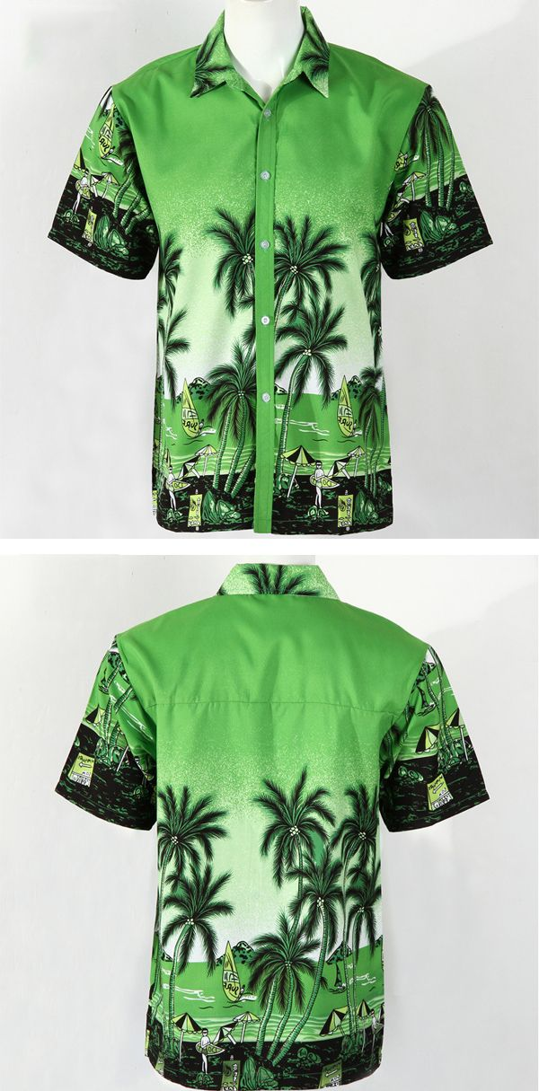 ChArmkpR Mens Summer Hawaiian Coconut Tree Print Casual Tees Quick-drying Short Sleeve Beach Shirt