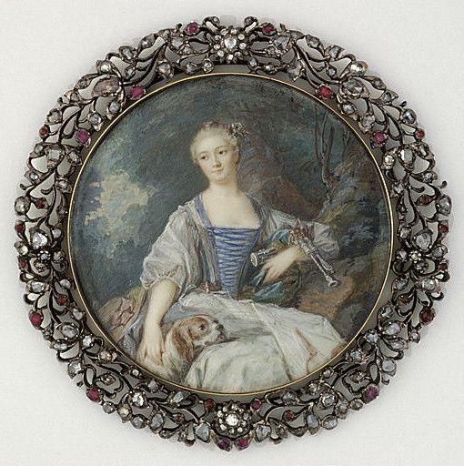 Madame de Pompadour as a Shepherdess, miniature by French school