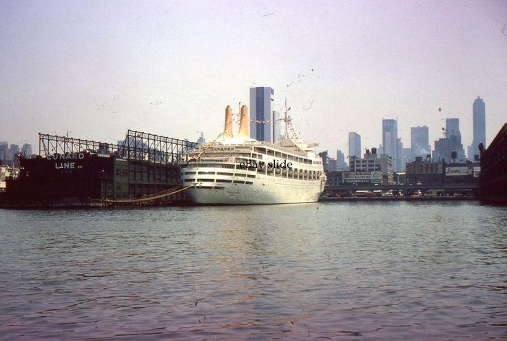 35mm Slide SS Canberra Cunard Line Dock New York City 1964 #Ford