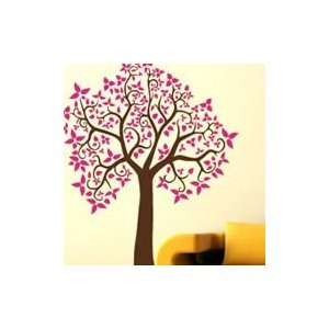 Curly tree adhesive wall sticker