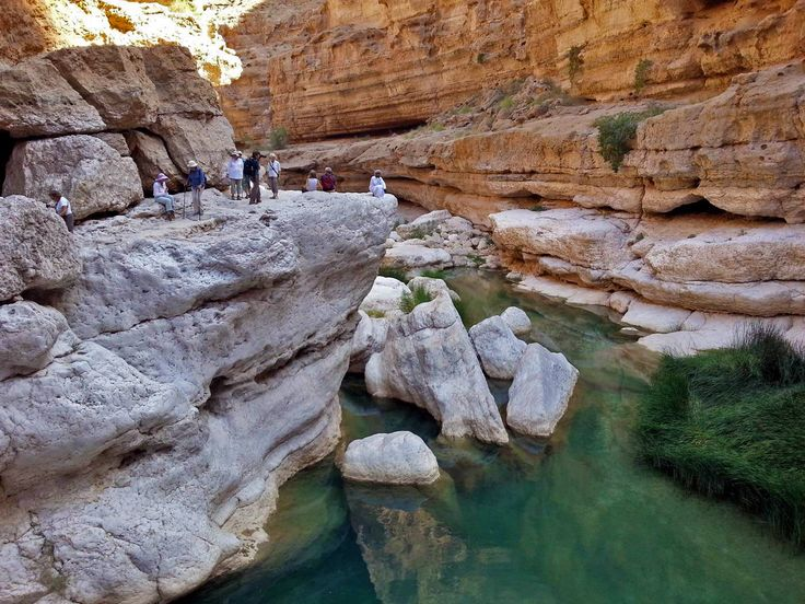 Hiking the gorges in Oman.