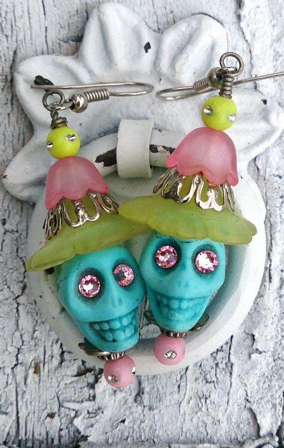 Turuoise Yello Pink Sugar Skull Day Of The Dead Earrings, Dia De Los Muertos   by Secret Stash Boutique, $9.00