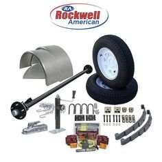 "6′ 6"" Wide Utility Trailer Parts Kit – 3,500 lb Rockwell American Posi-Lube Idler Axle– Model 1112 Deluxe ( Complete Kit)"