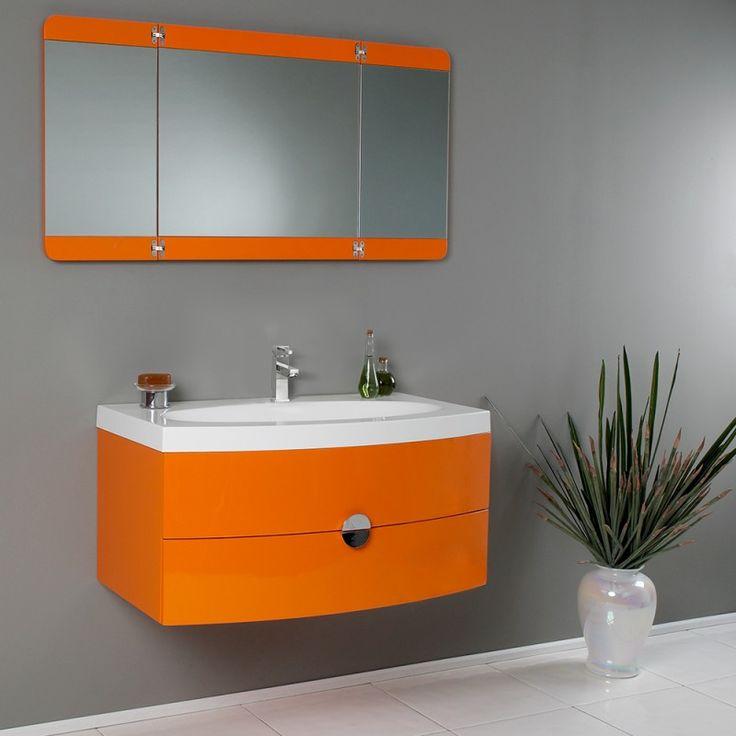 Orange Modern Bathroom Vanity w/ Three Panel Folding Mirror https://www.studio9furniture.com/bathroom/vanities/fresca-energia-orange-modern-bathroom-vanity-w-three-panel-folding-mirror  Have a sprinkle of color in your bathroom with this unique design of Energia.