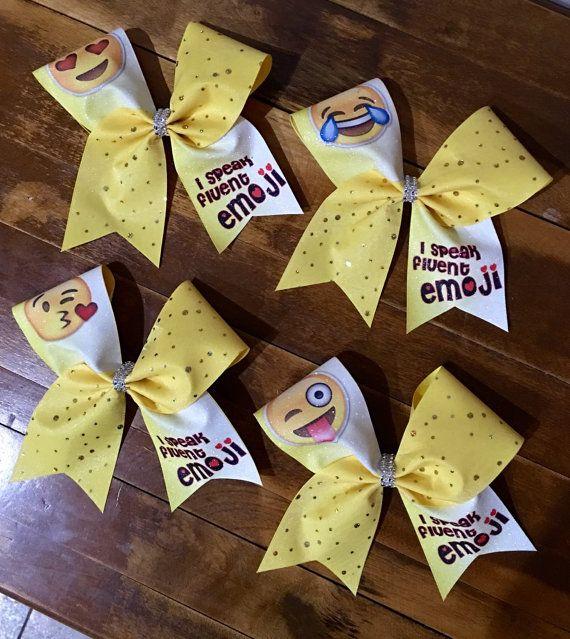 Emoji cheer bows by Bellabows76 on Etsy