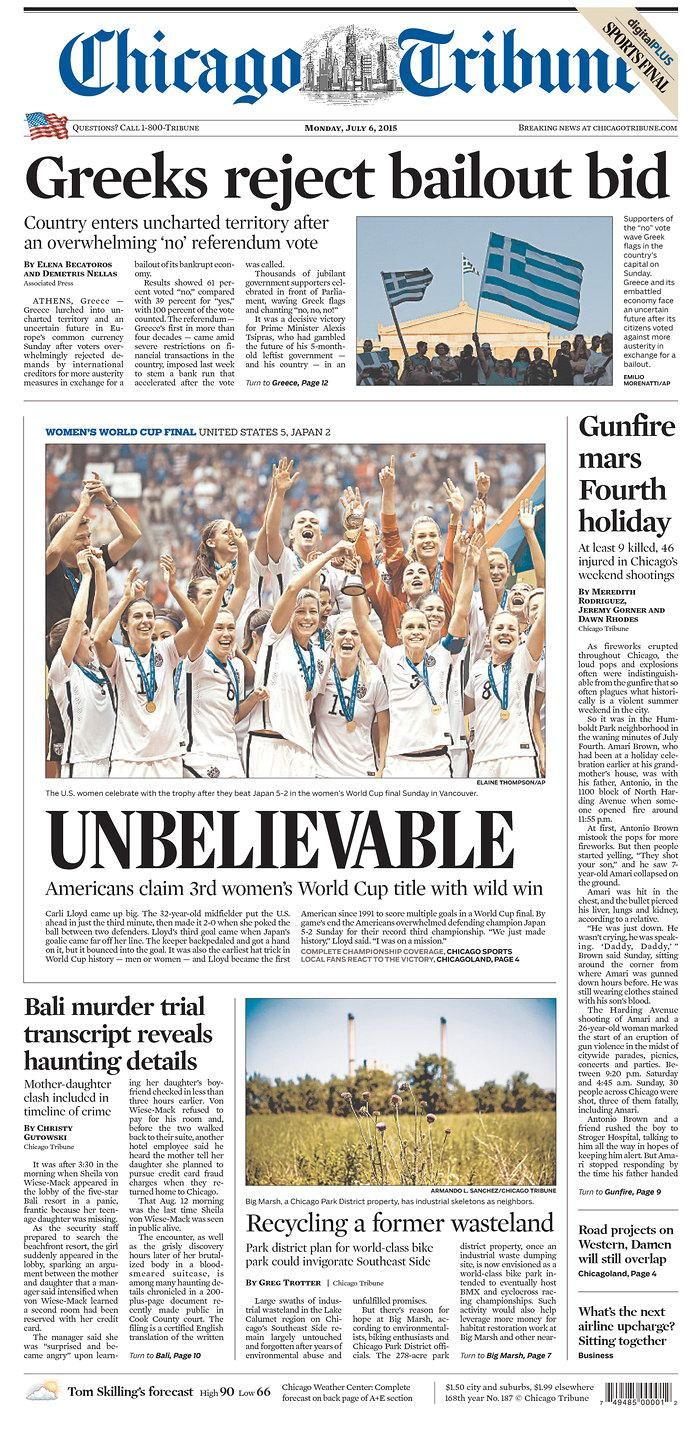 USA wins the Women's World Cup: American newspaper front pages – in pictures