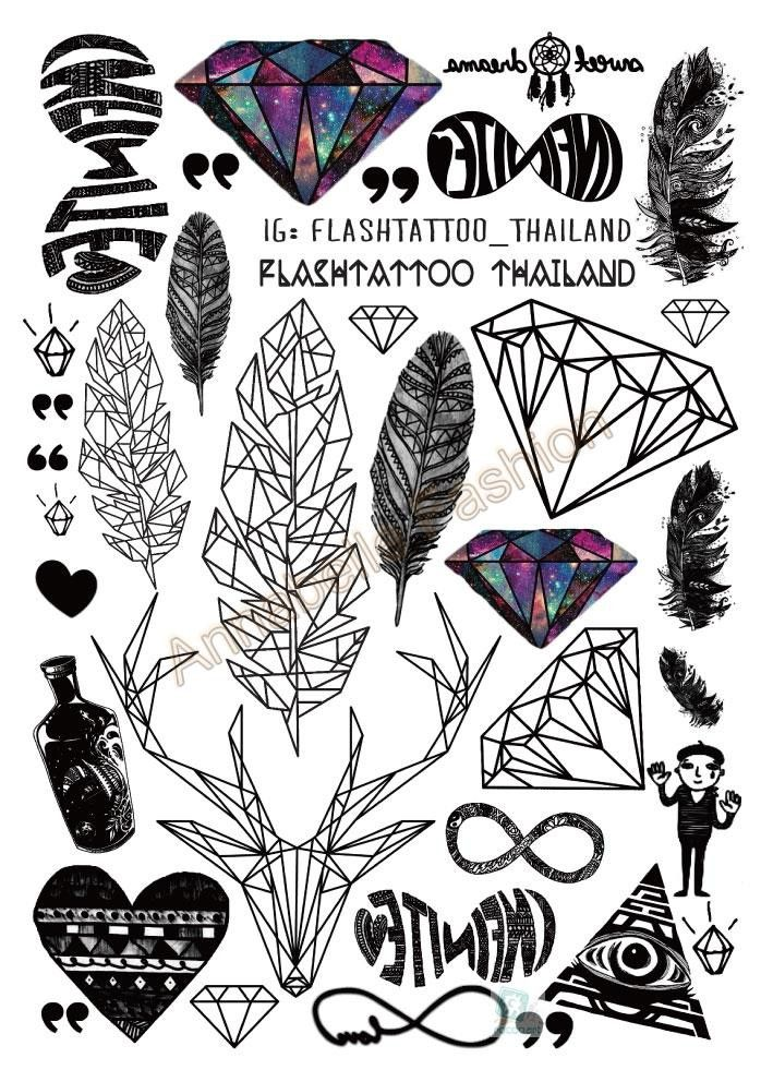 A6080Big Black tatuagem Taty Body Art Temporary Tattoo Stickers Feather Rainbow Diamond Glitter Tatoo Sticker