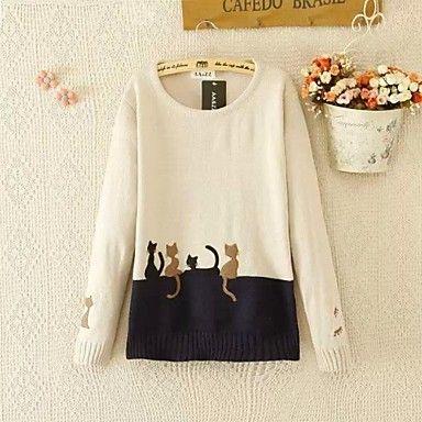 De las mujeres Casual/Bonito Micro-elástica Medio Mangas largas Pullover ( Algodón Mezclado )(1802416) – USD $ 25.19