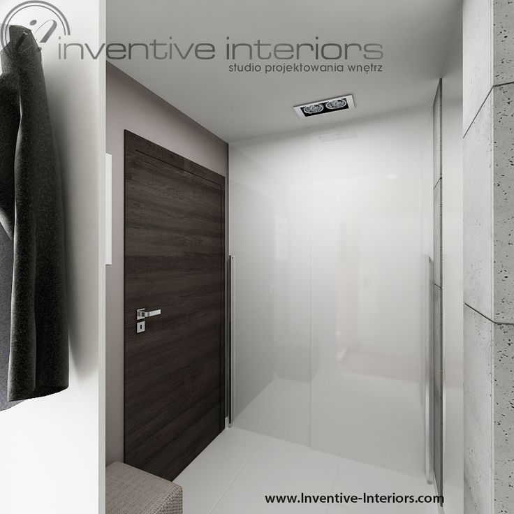 Projekt mieszkania Inventive Interiors - mały przedpokój - biała szafa - beton, beżowe ściany