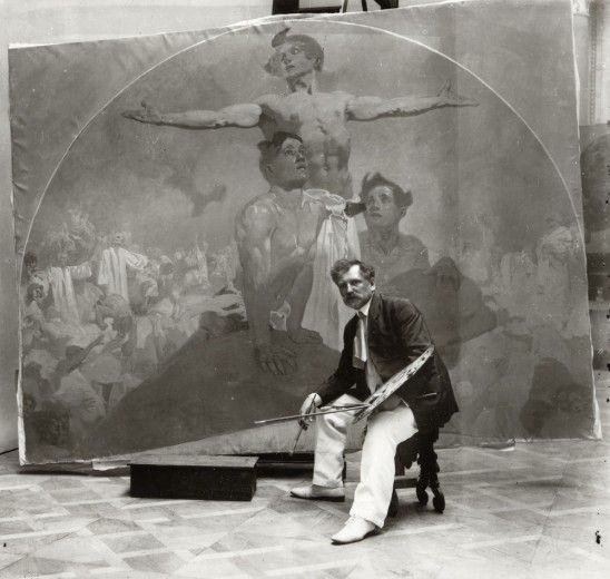 Alphonse Mucha, Self-portrait, working on a mural for the Lord Mayor's Hall, Obecní dům, Prague (1910-1911) © Mucha Trust.