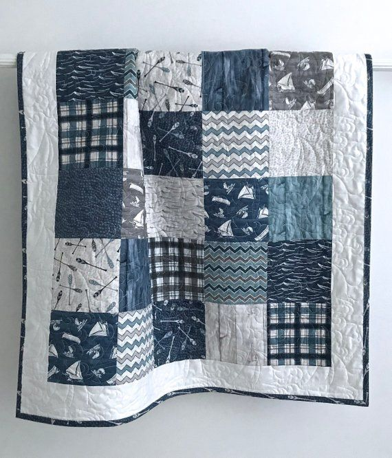 Baby Boy Patchwork Quilt Blue Baby Quilt Baby Nursery Lake Baby Quilt Vintage Patchwork Quilt Modern Baby Quilt Keepsake Quilt Studio Modern Baby Quilt Baby Boy Quilts Baby Boy Fabric